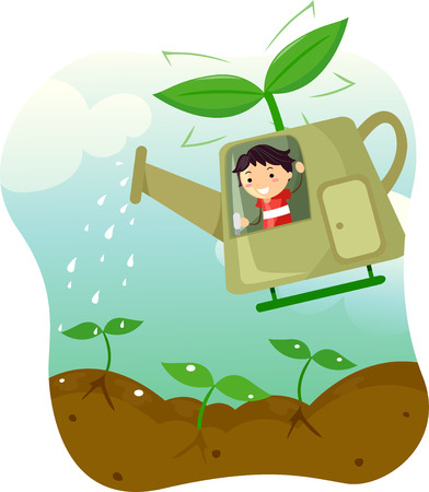 seedlings: Illustration of a Little Boy Riding a Helicopter Shaped Watering Can Stock Photo