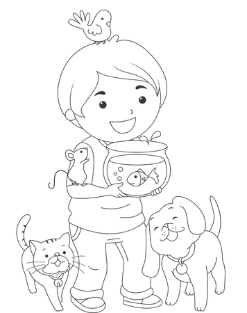 grade schooler: Black and White Coloring Page Illustration of a Boy Carrying Pets Stock Photo