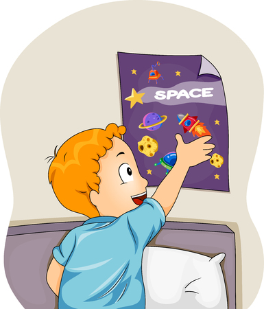 sticking: Illustration of a Boy Sticking a Space Themed Poster on His Wall