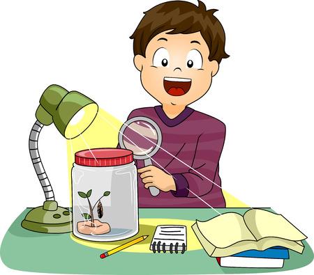 metamorphosis: Illustration of a Boy Observing the Metamorphosis of a Caterpillar
