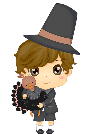 festive occasions: Illustration of a Boy Dressed as a Pilgrim for Thanksgiving