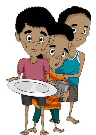Illustrazione di ragazzi malnutriti coda per Prodotti alimentari