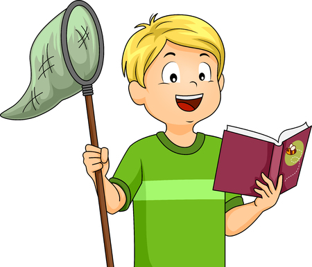 catch: Illustration of a Boy Holding a Butterfly Net While Reading a Book Stock Photo