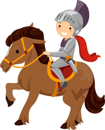 make believe: Illustration of a Boy Dressed as a Knight Riding a Horse