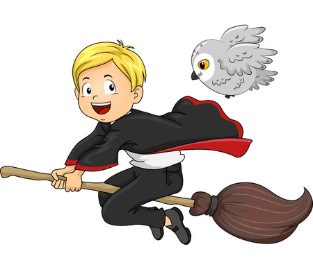 make believe: Illustration of a Young Wizard with His Familiar