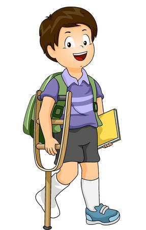 crutch: Illustration of an Injured Boy Using a Crutch to Walk