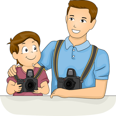 schooler: Illustration of a Little Boy Receiving Photography Tips From His Dad