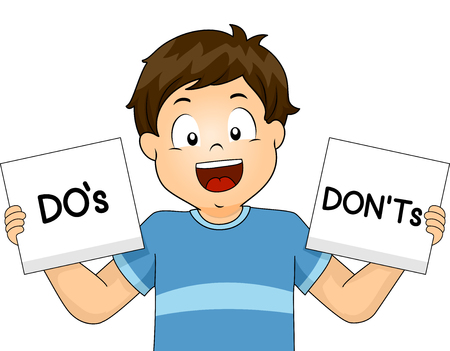 negative: Illustration of a Boy Showing Flashcards of School Rules Stock Photo