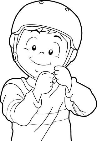 Black and White Coloring Page Illustration Featuring a Boy Putting a Helmet On Stock Photo