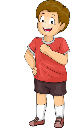 confidently: Illustration of a Boy Smiling Confidently Stock Photo
