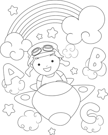 aviator: Black and White Coloring Page Illustration of a Boy Dressed as an Aviator Stock Photo