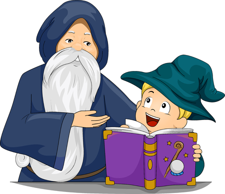 make believe: Illustration of a Boy Learning How to be a Wizard Stock Photo