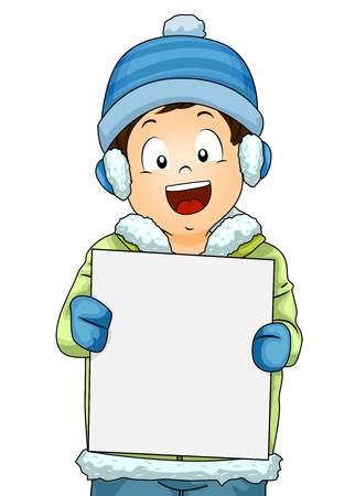 Illustration of a Little Boy in Winter Clothes Holding a Blank Board