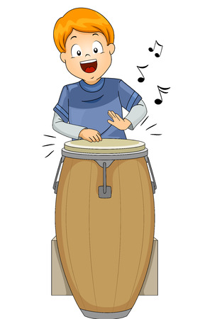 beat: Illustration of a Little Boy Playing with a Conga Drum
