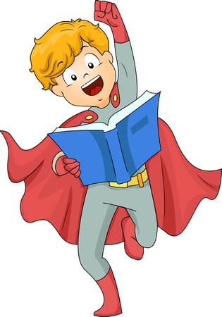 책을 읽고 슈퍼 히어로로 옷을 입고 소년의 그림 스톡 콘텐츠