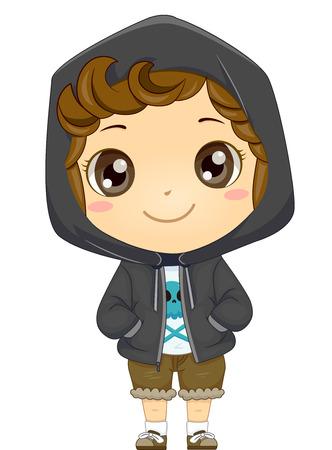 warmer: Illustration of a Little Boy Wearing a Hooded Jacket