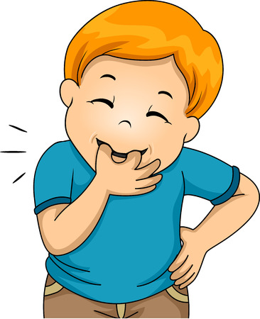 Illustration of a Little Boy Whistling Using His Fingers