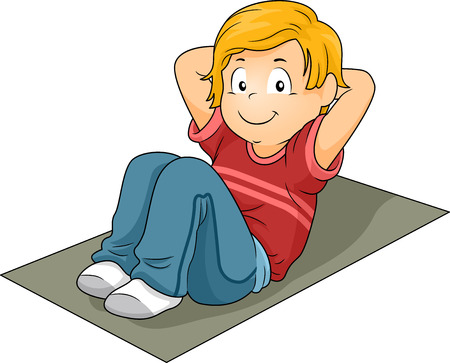 Illustration of a Little Boy Doing Sit Ups