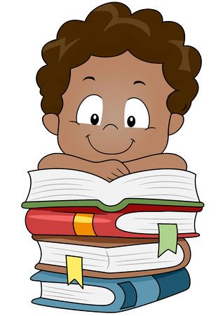 Illustrazione di un bambino che riposa le sue braccia su una pila di libri