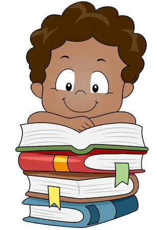 niños estudiando: Ilustración de un niño apoyando los brazos sobre una pila de libros