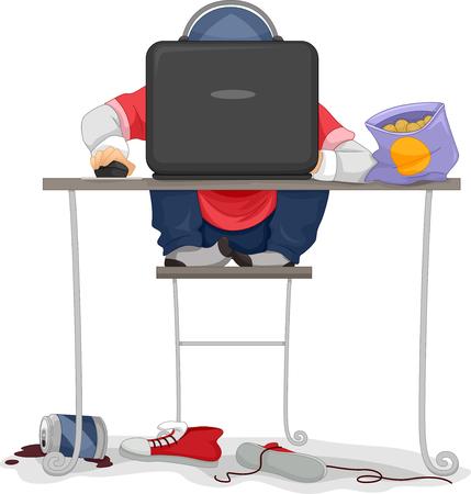 cafe internet: Ilustración de niños jugando un juego de ordenador
