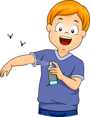 cartoon child: Illustration of a Little Boy Spraying Insect Repellent on Himself