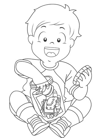 storing: Black and White Illustration of a Boy Storing Trinkets in a Jar Stock Photo