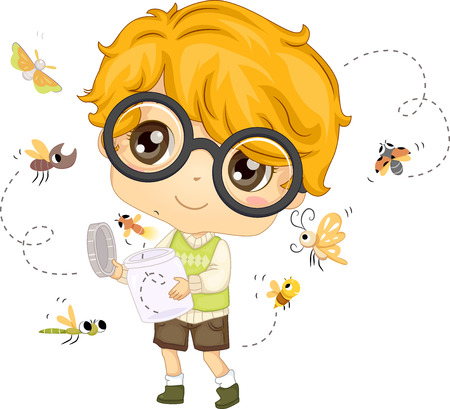 curious: Illustration of a Little Boy Setting Insects Free