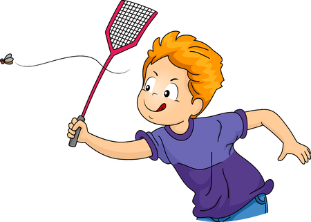 hyperactive: Illustration of a Little Boy Swatting a Fly Stock Photo