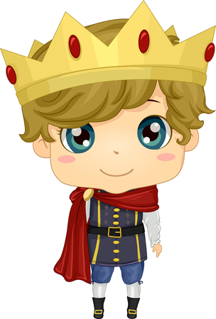 make believe: Illustration of a Boy Wearing a Prince Costume