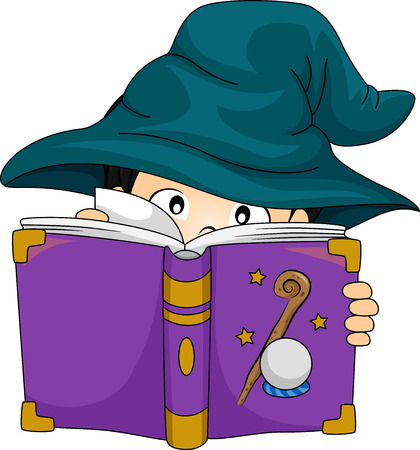 book reviews: Illustration of a Boy Dressed as a Wizard Studying a Spell Book