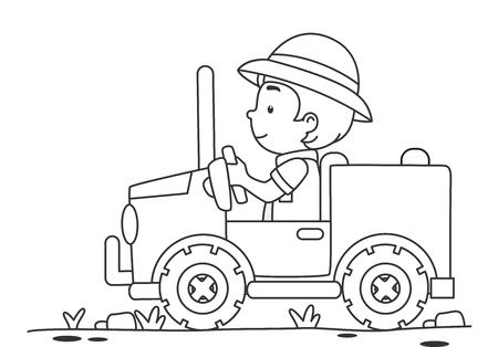 黒と白の男の子のイラストをページを着色 写真素材