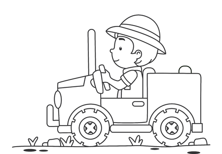 Black and White Coloring Page Illustration of a Boy