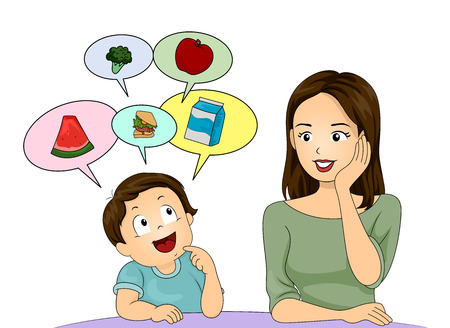 schooler: Illustration of a Little Boy Asking His Mom to Prepare Healthy Food