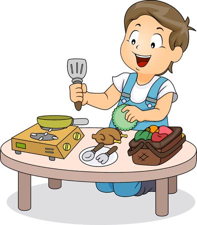 schooler: Illustration of a Little Boy Playing with Mini Kitchen Utensils