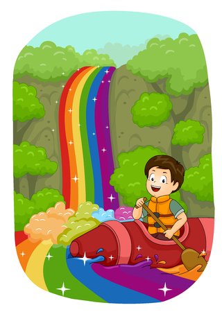 down: Illustration of a Little Boy Kayaking Down a Rainbow River