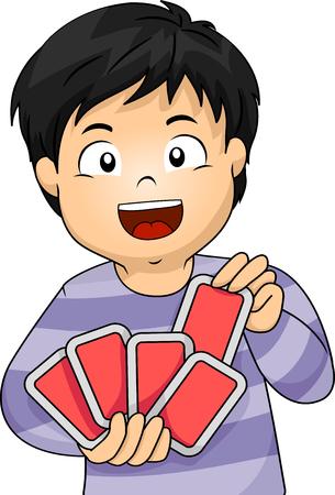 Illustratie van een kleine jongen die met kaarten