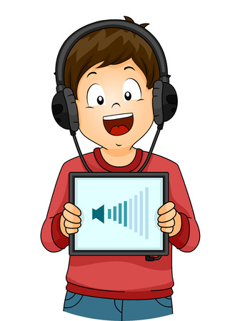 hear: Illustration of a Little Boy Increasing the Volume of the Song He is Listening To