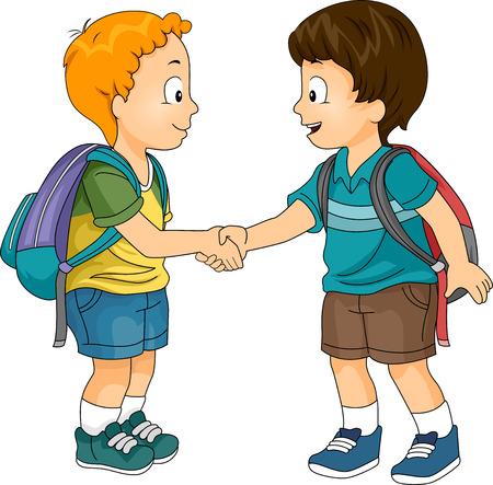 niño escuela: Ilustración de los niños pequeños que sacuden las manos Foto de archivo