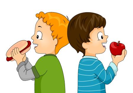 children eating fruit: Illustration of Little Boys Eating a Hotdog and an Apple