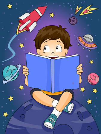 astronomy: Illustration of a Boy Reading an Astronomy Book