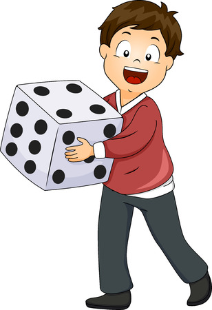 probability: Illustration of a Little Boy Rolling a Giant Die
