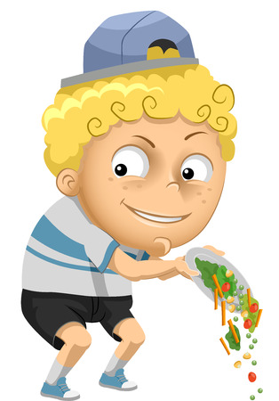 prankster: Illustration of a Little Boy Throwing His Vegetables Away
