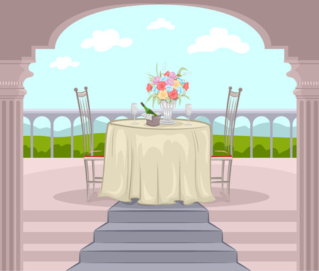 fine dining: Illustration of a Balcony Prepared for a Romantic Date Stock Photo