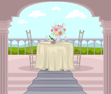 balcony: Illustration of a Balcony Prepared for a Romantic Date Stock Photo