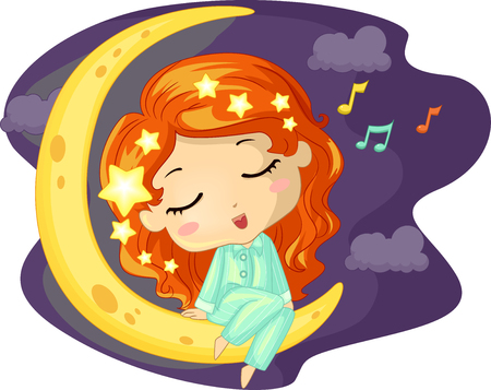colourful sky: Illustration of a Little Girl Singing While Sitting on the Moon
