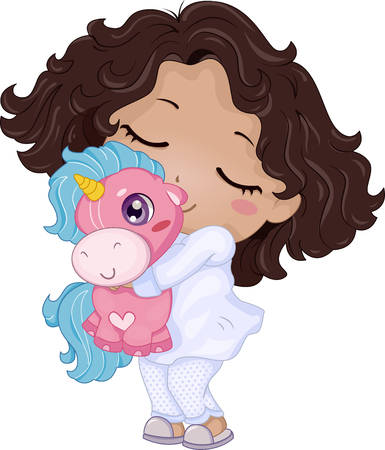 pajama: Illustration of a Little Girl Playing with a Unicorn Stuffed Toy Stock Photo