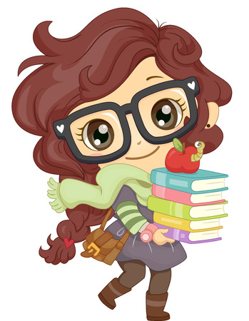 schooler: Illustration of a Little Girl in Glasses Carrying a Stack of Books Stock Photo