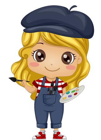 Illustration of a Little Girl Dressed as a French Painter