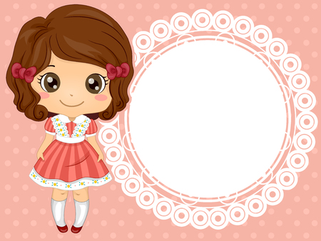 ruffles: Frame Illustration of a Cute Little Girl in a Frilly Dress
